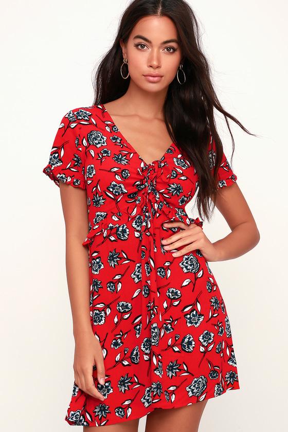 1f1de6592e5 MINKPINK Terrace - Red Floral Print Dress - Ruched Mini Dress