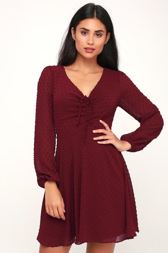 a70dd3cd9fe Cute Burgundy Dress - Skater Dress - Long Sleeve Dress - Dress