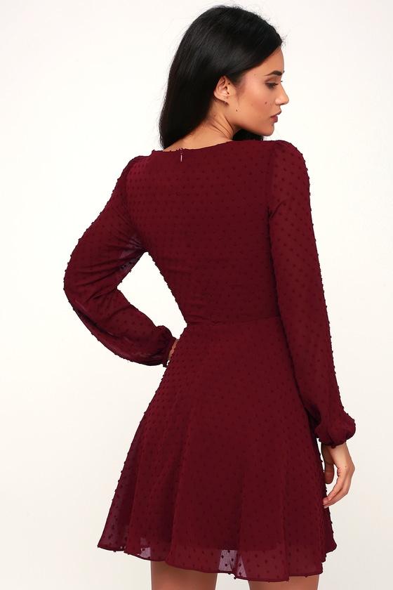 efb1259b3b38 Cute Burgundy Dress - Skater Dress - Long Sleeve Dress - Dress