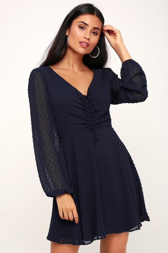 Cute Navy Blue Dress - Skater Dress - Long Sleeve Dress - Dress 6813b509d