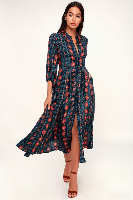 61fd67439c6 Boho Teal Blue Dress - Shirt Dress - Midi Dress - Long Sleeve