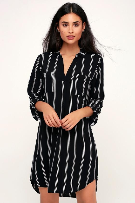 8dbf31d4444 LUSH Shirt Dress - Black and White Striped Dress - Shift Dress