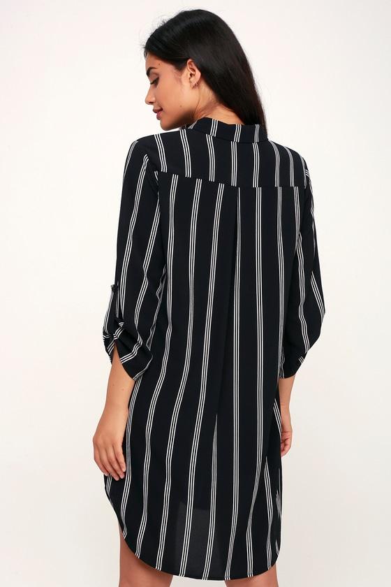 83d175a4f95f LUSH Shirt Dress - Black and White Striped Dress - Shift Dress