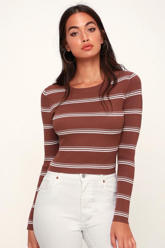 b5727d8d66 Cute Sweater Top - Striped Sweater Top - Cropped Sweater Top