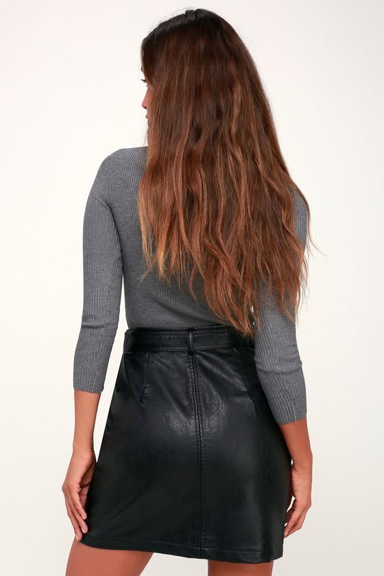 12dd639f9 Cute Vegan Leather Skirt - Black Mini Skirt - Pleather Mini Skirt