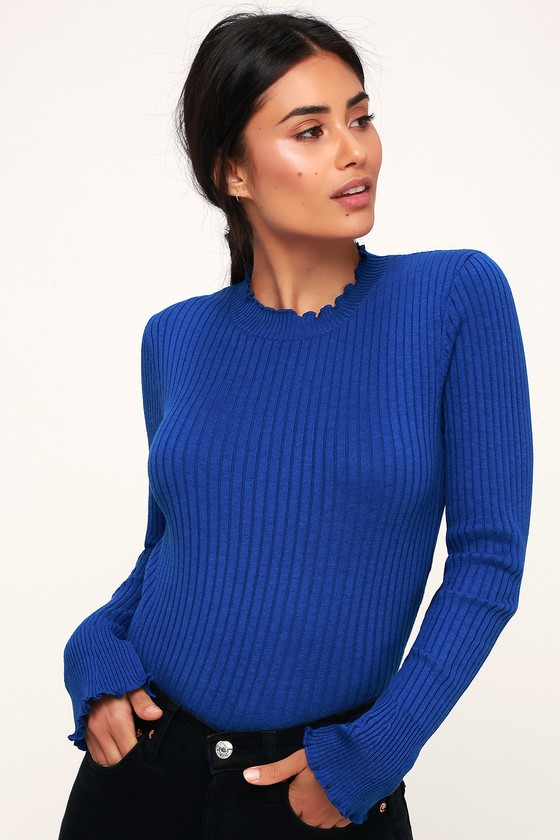 423c2b6b64c28 Cute Cobalt Blue Sweater - Cropped Sweater - Ribbed Sweater Top