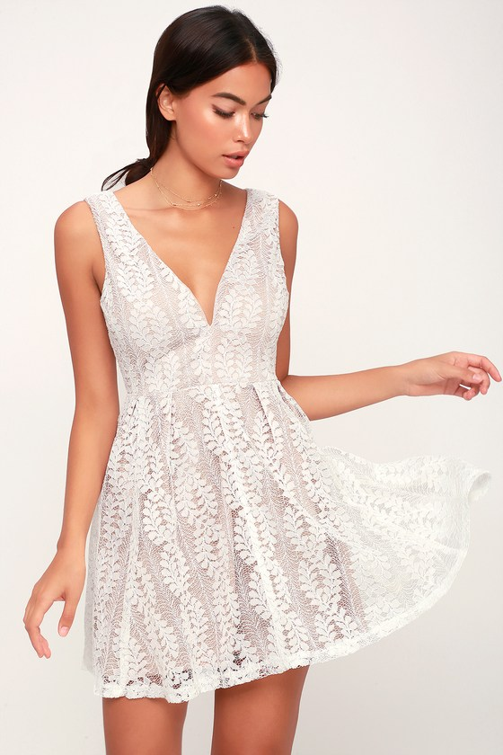 76b7bbe5f6 Cute White Dress - Skater Dress - Lace Dress - Cute Party Dress