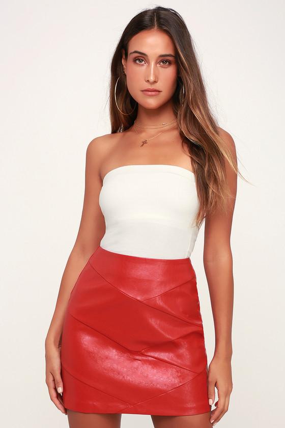 5da920e3fd1 MINKPINK Baddie - Red Vegan Leather Mini Skirt - Red Mini Skirt