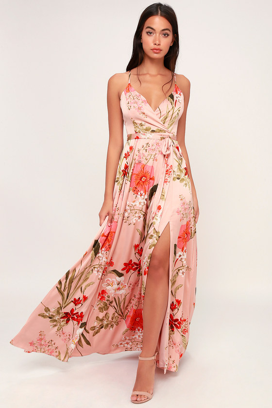 Still the One Blush Pink Floral Print Satin Maxi Dress - Lulus