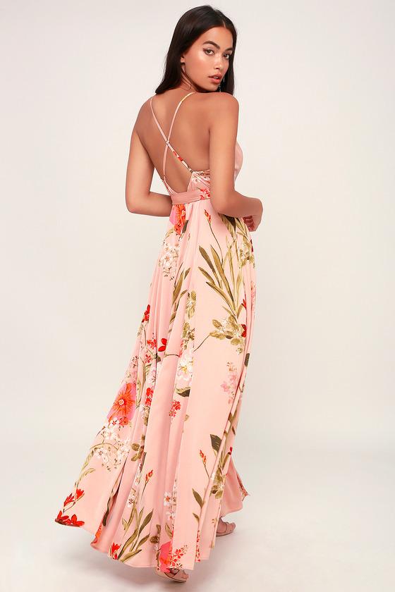1a7f0ac24e7b9 Blush Pink Dress - Floral Print Dress - Surplice Maxi Dress