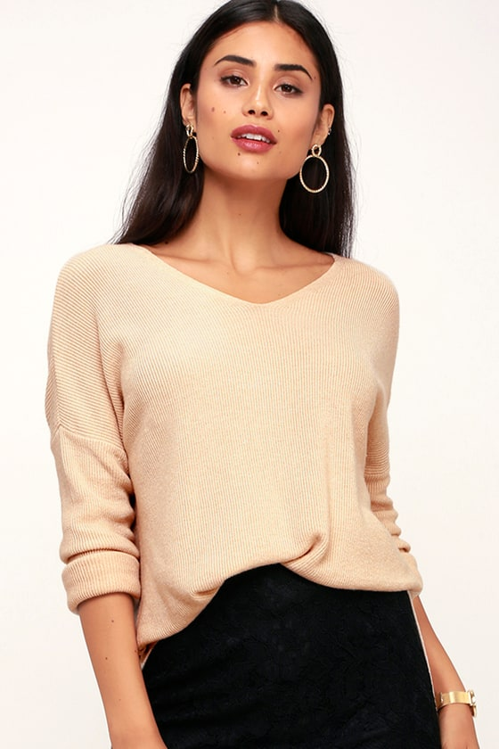 Cozy Up Beige V-Neck Sweater Top - Lulus
