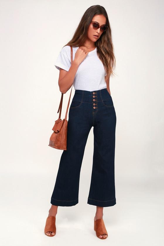 6cc417c376da Cute Wide-Leg Jeans - Cropped Jeans - Dark Wash Jeans