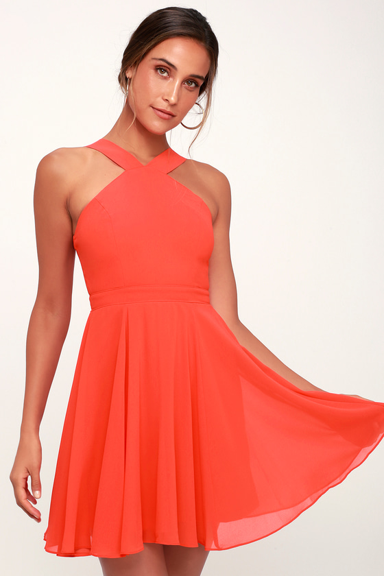 50caa02dd127 Lovely Coral Red Skater Dress - Halter Dress - Bridesmaid Dress