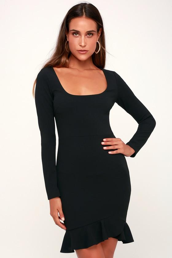 Margot Black Ruffled Long Sleeve Dress