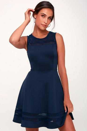 d257163e22c Navy Blue Mesh Dress - Navy Homecoming Dress -  48.00