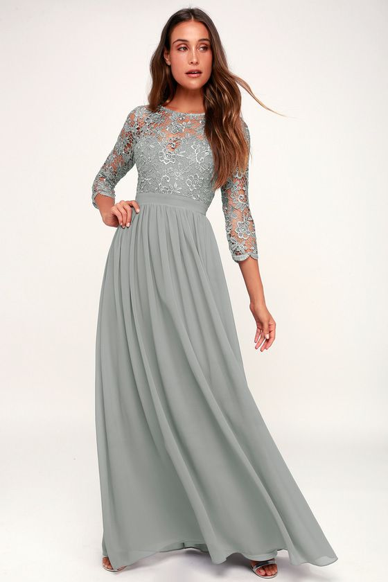 Titanic Dresses & Costumes | 1912 Dresses Touch My Heart Sage Grey Lace-Up Lace Maxi Dress - Lulus $59.00 AT vintagedancer.com