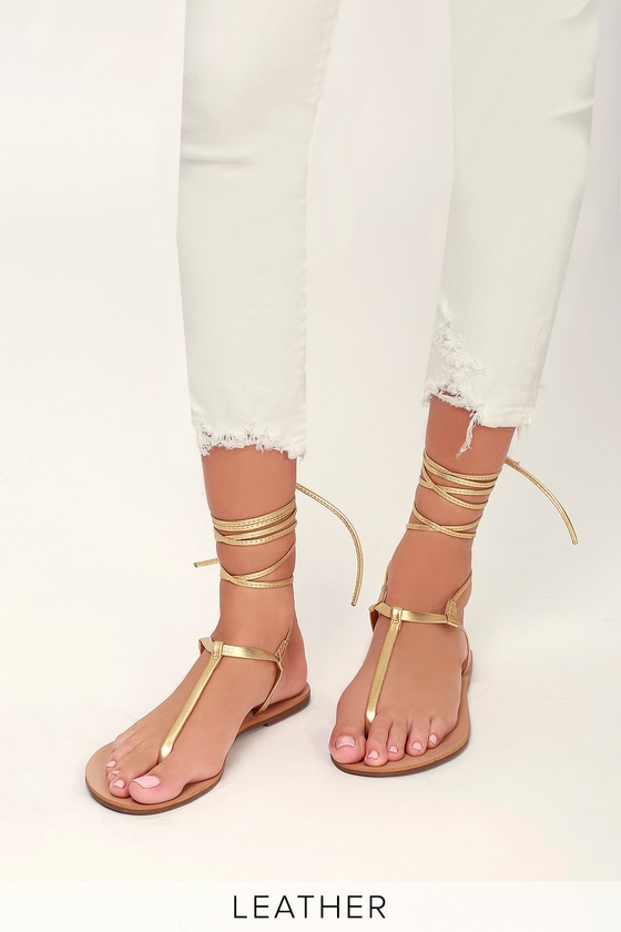 Cute Gold Lace-Up Thong Sandals - Leather Thong Sandals