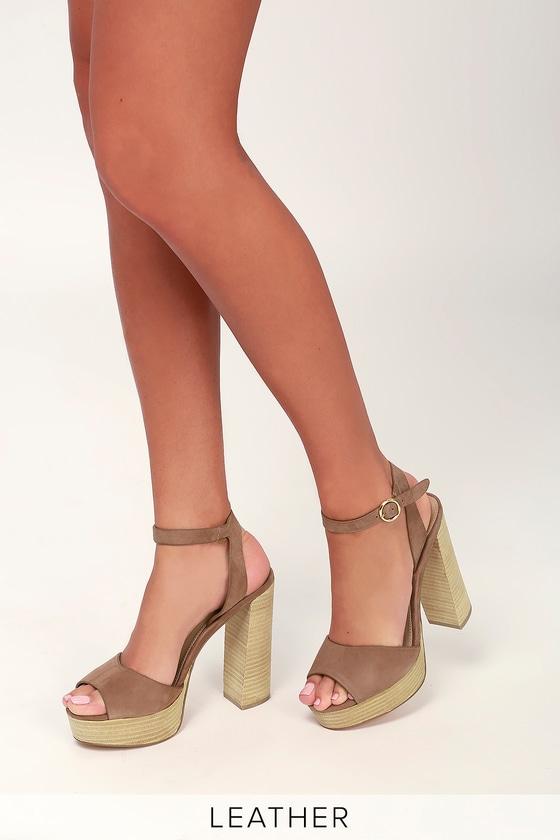 e07d66b5b84 Steve Madden Madeline - Tan Platform Sandals - Suede Sandals