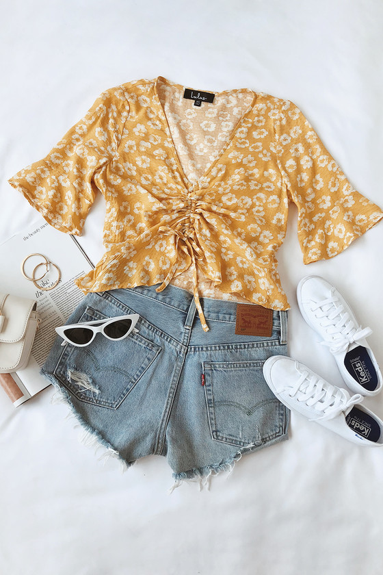 7a599a779837db Cute Mustard Yellow Floral Print Crop Top - Ruched Crop Top