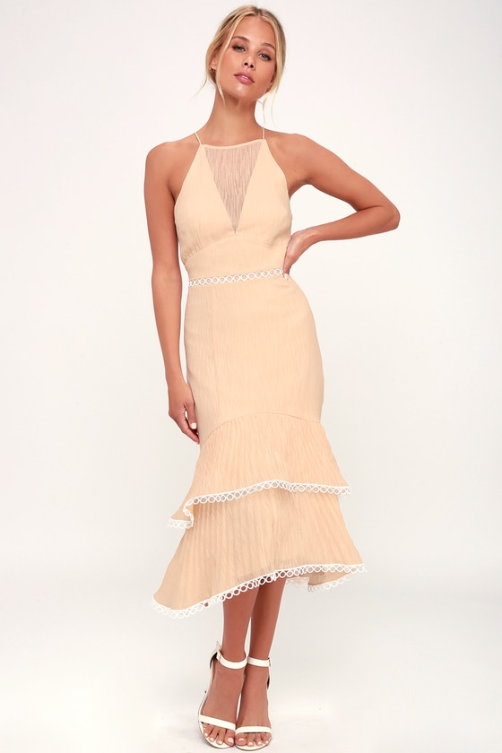 Keepsake Too Close Dress - Nude Midi Dress - Ruffled Dress 6e149650a