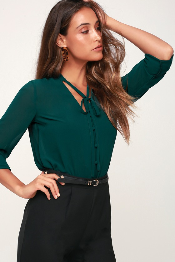 factory outlet variety styles of 2019 good out x Style Education Dark Green Blouse