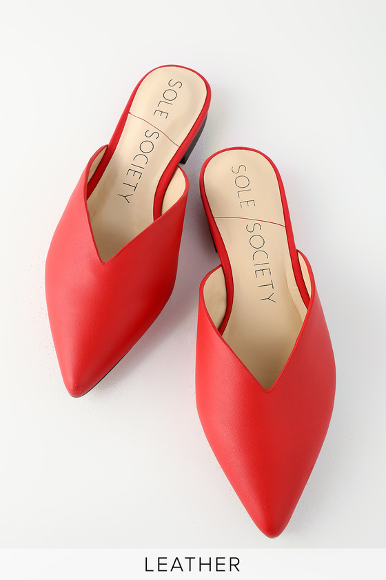 2a367ad5 Sole Society Rosemond - Red Genuine Leather Mules