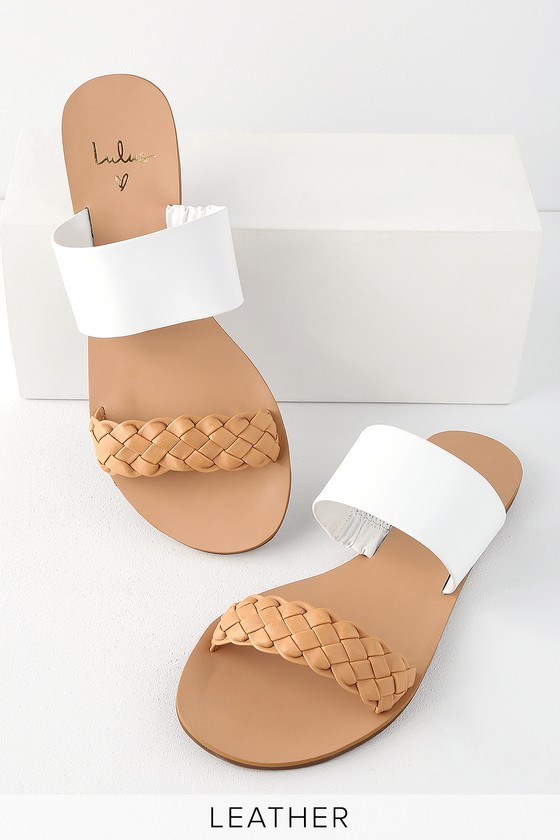 Chic Tan and White Slide Sandals