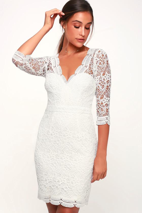 7b6a88ecf1df Sexy White Dress - Lace Dress - Bodycon Dress - Long Sleeve Dress