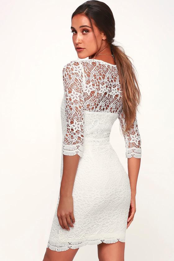 df278d0b93 Sexy White Dress - Lace Dress - Bodycon Dress - Long Sleeve Dress
