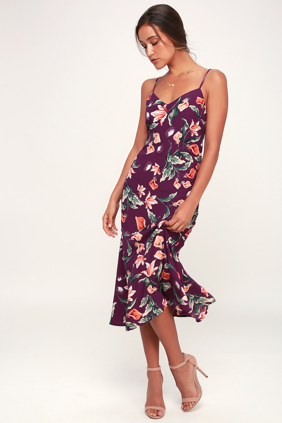 8a1ca6d20f2 Cute Midi Dress - Floral Print Midi Dress - Purple Print Dress
