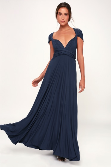 65a661a9 Awesome Navy Blue Dress - Maxi Dress - Wrap Dress