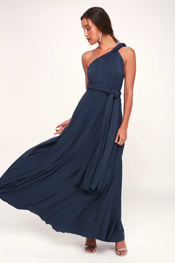 712cf04c5a Awesome Navy Blue Dress - Maxi Dress - Wrap Dress