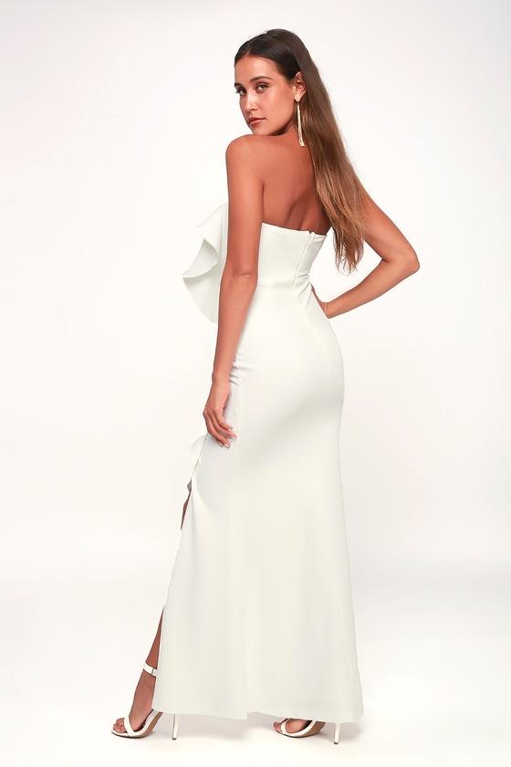 6e533594ba Lovely White Dress - Strapless Dress - White Ruffled Maxi Dress