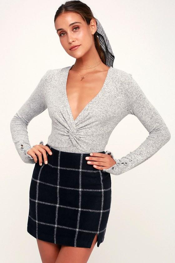 d920b71658 Chic Navy Blue Skirt - Plaid Skirt - Flannel Skirt - Mini Skirt