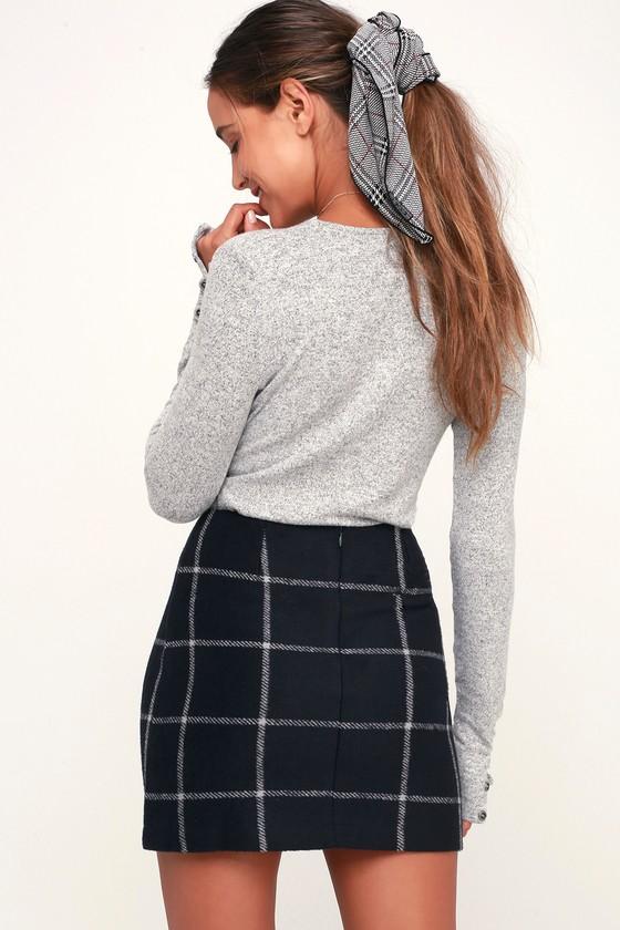 Chic Navy Blue Skirt Plaid Skirt Flannel Skirt Mini Skirt