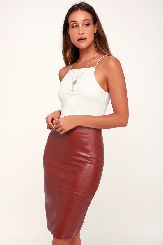 7b2493a07aa Chic Wine Red Pencil Skirt - Leather Skirt - Vegan Leather Skirt