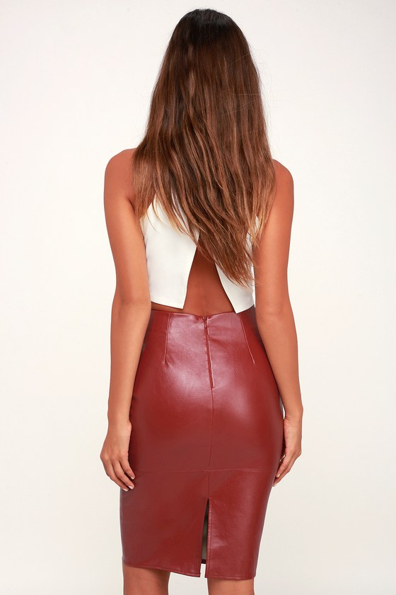 a2d192931 Chic Wine Red Pencil Skirt - Leather Skirt - Vegan Leather Skirt