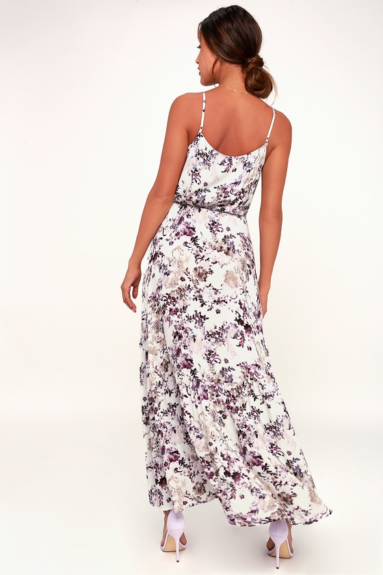 404d1c167a34 Singing at Sunset White and Purple Floral Print Midi Wrap Dress