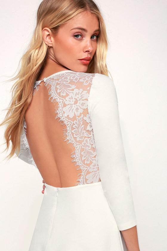 b82dfc2ed4 Cute Skater Dress - White Skater Dress - Backless Dress - LWD