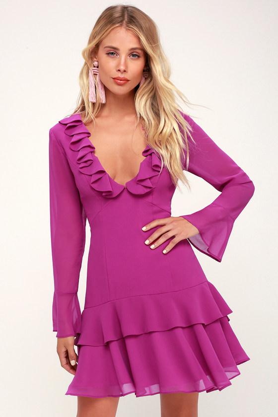 Run Free Magenta Ruffle Long Sleeve Mini Dress - Lulus