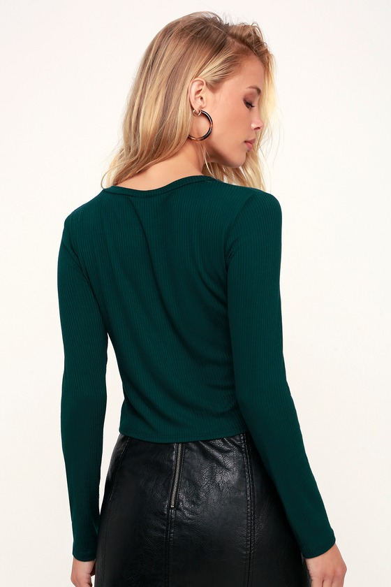 29521a1f40238c Cute Forest Green Top - Ribbed Knit Crop Top - Long Sleeve Top