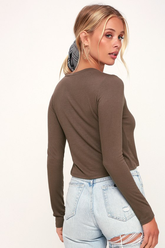5b517564e0146 Cute Taupe Top - Crop Top - Long Sleeve Top - Ribbed Knit Top