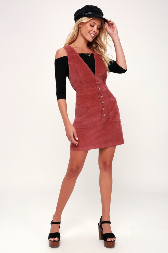 WANDER MY WAY RUSTY ROSE CORDUROY PINAFORE DRESS