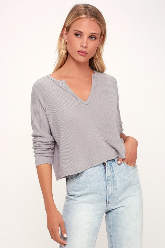 0fbfb62af8 Cute Lavender Sweater Top - Notched Sweater Top - Ribbed Sweater