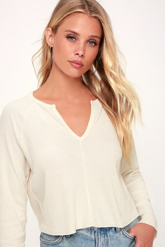 17b69f36b4154d Lacefield Cream Notched Long Sleeve Sweater Top