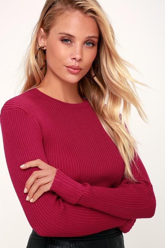 Cute Fuchsia Sweater - Ribbed Sweater Top - Long Sleeve Sweater 537f00ec0