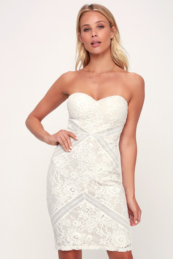 9bdab7bb1d Chic White Lace Dress - Bodycon Dress - White Strapless Dress