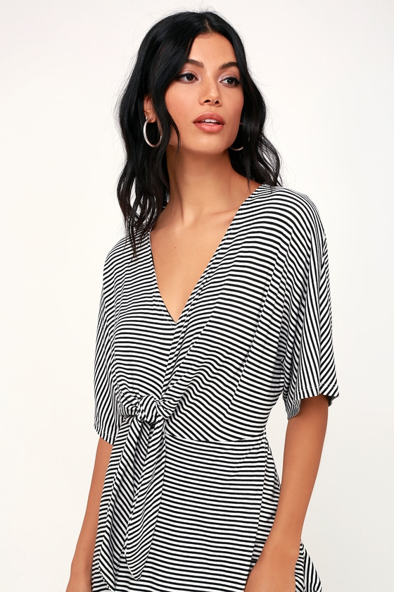 Lush Striped Dress Knotted Front Dress Short Sleeve Dress