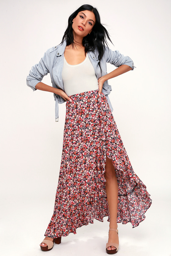 68c5044413d Cute Maxi Skirt - Floral Skirt - Ruffled Skirt - High-Low Skirt