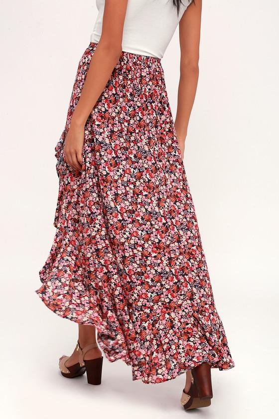 2dade7365c Cute Maxi Skirt - Floral Skirt - Ruffled Skirt - High-Low Skirt